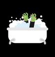zombie in bath isolated green dead man washes for vector image