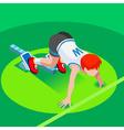 Running Starting Line Kids Marathon 3D Isometric vector image
