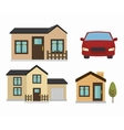 beautiful mansion and car isolated icon design vector image