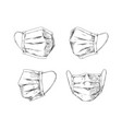 breathing masks hand drawn medical face mask flu vector image vector image