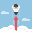 businessman flying up through clouds with grow vector image vector image