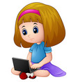 cartoon girl playing a laptop vector image
