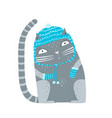 cat in winter hat and mittens vector image vector image
