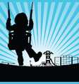 child silhouette cute on swing in playground vector image vector image