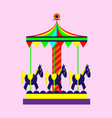 childrens carousel with horses vector image