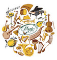 colorful drawing music icons round concept vector image