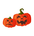 couple halloween scary pumpkins with spooky vector image vector image