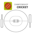 Cricket Flat color icon sports ball and field vector image vector image
