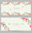 cute floral invitation cards with lovely roses for vector image