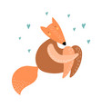 cute fox is sitting isolated on white vector image vector image