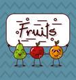 cute kawaii fruits happy characters vector image vector image