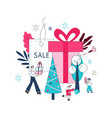 flat man girl boy kids with shopping bags vector image vector image