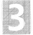 Freehand Typography Number 3 vector image vector image