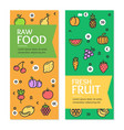 fresh fruit raw food flyer banner posters card set vector image