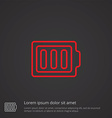 full battery outline symbol red on dark background vector image