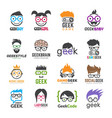 geek logotypes identity for smart kids computer vector image