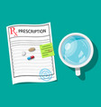 glass water pills capsules prescription vector image vector image