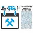 Hammers Calendar Day Icon With 1000 Medical vector image vector image
