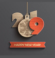 happy new year 2019 design card in paper style vector image