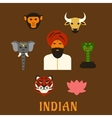 Indian animals and national symbols vector image