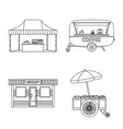 isolated object of market and exterior sign set vector image