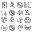 keep silence icons set on white background line vector image vector image