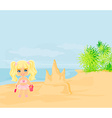little girl building a sand castle at the beach vector image vector image
