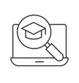 magnifying glass and graduation cap on laptop vector image