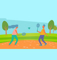 man and woman playing badminton outdoors summer vector image vector image