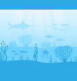 marine theme background with fish and algae vector image