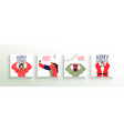 merry christmas family people greeting card set vector image vector image