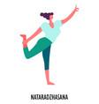 nataradzhasana yoga position sport or fitness vector image