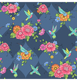 pattern colibri blue vector image