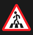 pedestrian crossing and crosswalk sign flat icon vector image vector image