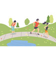 people running in park physical activities vector image