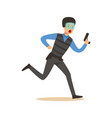 police officer in body armor and mask running with vector image vector image