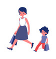 polite child with good manners helping his mother vector image vector image