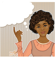 Pretty African American girl at the speech bubble vector image vector image