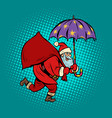 santa claus with star umbrella magical night vector image