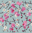 seamless pattern with blooming sakura branches vector image