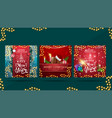 set greeting square christmas postcards with vector image