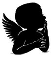 silhouette of baby angel thinks leaning his hand vector image vector image