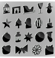Silhouettes stickers Christmas paraphernalia on a vector image