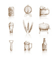 Sketch beer icons vector image vector image