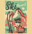 ski resorts retro poster design template vector image vector image