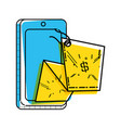 smartphone with commercial tag hanging vector image vector image