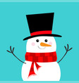 snowman carrot nose black hat red scarf merry vector image