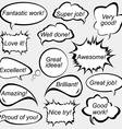 Speech bubbles with positive feedback messages vector image