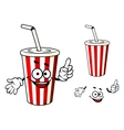 Stripe soda or juice cup with happy face and vector image vector image