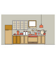 stylish interior of modern furnished kitchen with vector image vector image